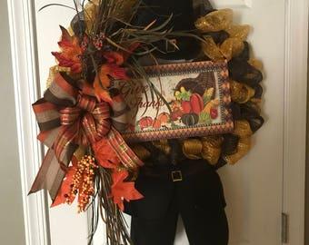 Thanksgiving Pilgrim Wreath