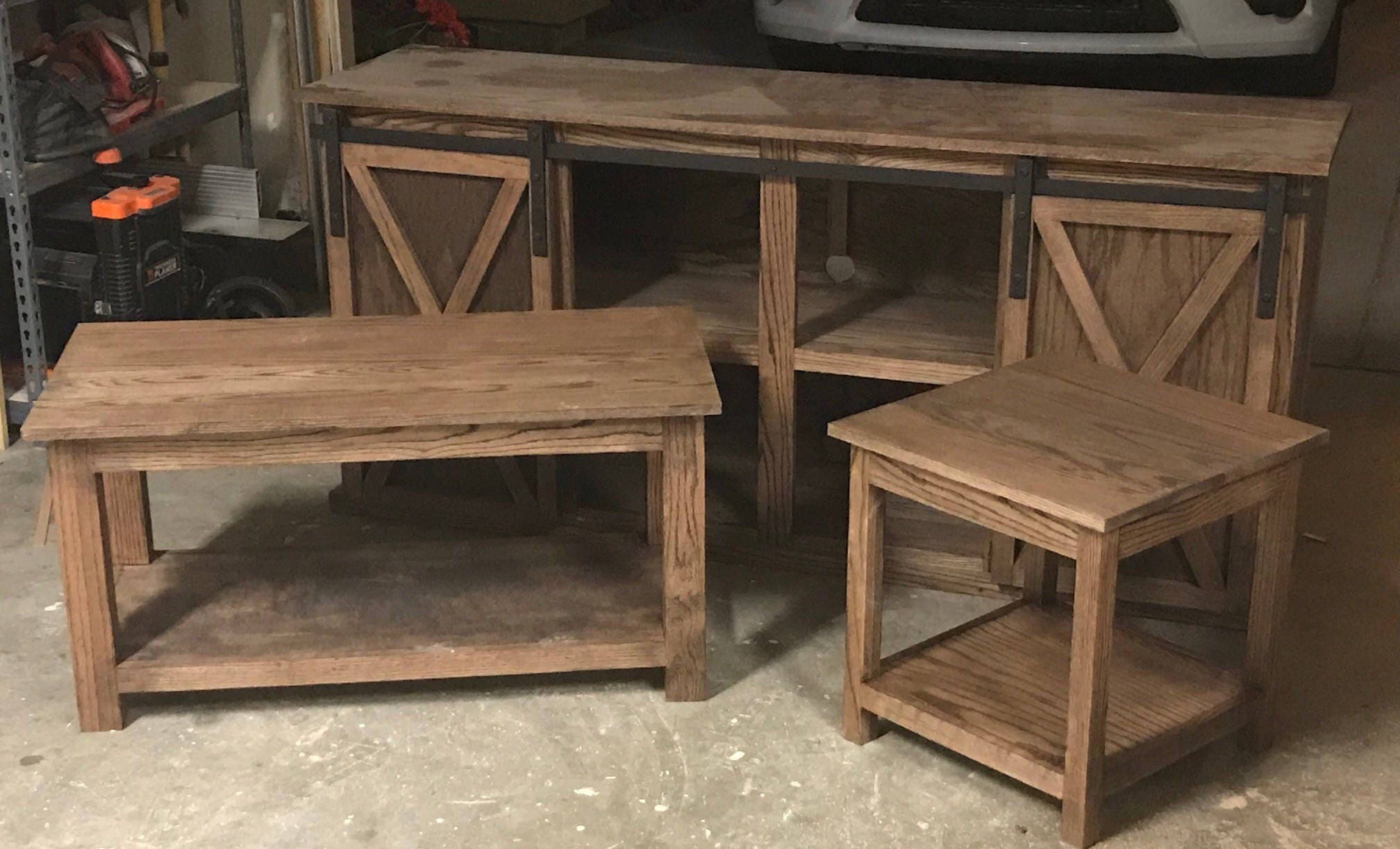 Red Oak TV Stand Coffee Table and End Table Set