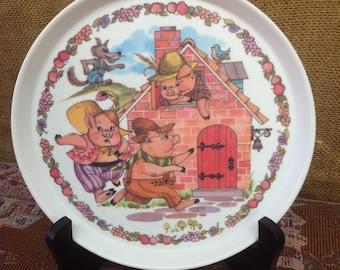 Vintage 1970 Oneida 3 Little Pigs Plate