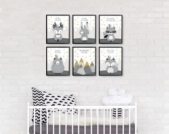 Nursery print set, Monochrome nursery, Woodland nursery set, Nursery print set of 6, Forest friends set, Deer raccoon, Baby Shower, Giclee