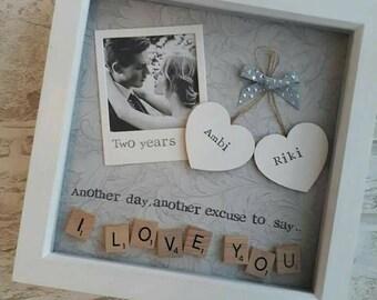 Valentines Gift, Anniversary Gift Partner, Personalised Scrabble Art Frame,  Present For Husband,