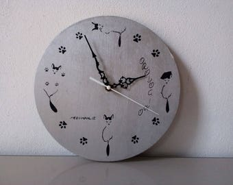wooden clock with cats