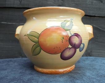 Vintage Hornsea Ceramic Planter/Fruits Pattern Planter/Plant Pot/Rustic Planter/Indoor Planter