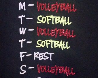 Volleyball/Softball schedule t-shirt