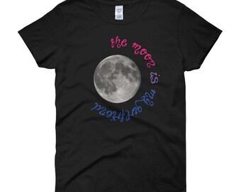 The Moon Is My Girlfriend Bisexual Pride Colors Women's Short-Sleeve T-Shirt lgbt, lgbtq, queer, bisexual, bi pride
