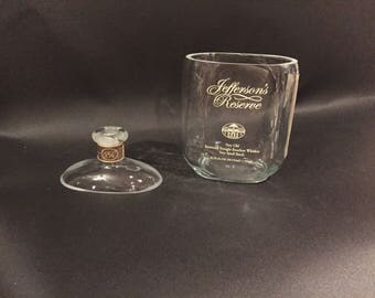 HANDCRAFTED Candle UP-CYCLED Jefferson's Very Old Bourbon Whiskey Soy Candle With/Without Attached Pedestal . Made To Order !!!!!!!