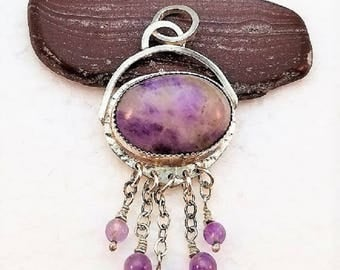 Handmade sterling silver pendant of amethyst in matrix cabochon with five amethyst bead dangles