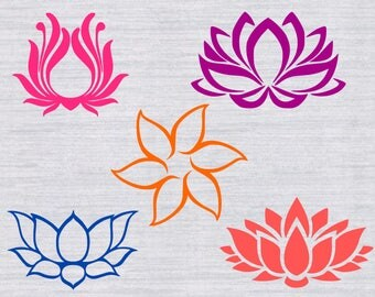 Lotus flower SVG Bundle, Lotus svg, Lotus clipart, svg files for silhouette, cricut, dxf, png, eps