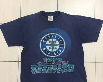 Rare!!!Vintage 90s Seattle Mariners 1995 American League West Division Champions MLB T-Shirt