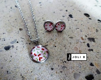 Duo girl necklace and earrings stainless steel