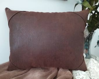 Rugged faux suede/faux leather decorative pillow