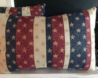 Patriotic Stars and Stripes Decorative Pillows-Independence Day-4th of July-Americana-American Flag-Red, Cream, and Blue-Glittery Gold
