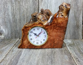 Redwood Burl Clock Table Shelf Mantle Desk Office Gifts for Men Sitting Wood #R