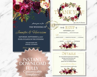 Boho|Marsala|Printable Wedding Invitation Suite|Floral Wedding Invitation|Boho Wedding|Digital Downloads|DIY Wedding|Navy|Burgundy|Garnet