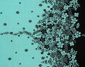 Black Floral Vines on Dusty Jade Border Cotton Jersey Blend Knit Fabric