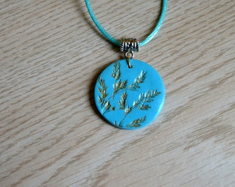 Polymer clay pendant etsy botanical hand made polymer clay pendant on sale mozeypictures Images