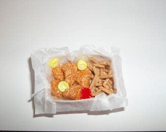 Dollhouse Miniature Handcrafted Fish & Chips with Ketchup, Lemon Food for the Doll House 1114