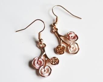 Rose Gold Pink Flower Earrings