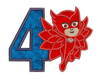Owlette Pj Masks 4th Birthday Applique Design Instant Download 3 sizes
