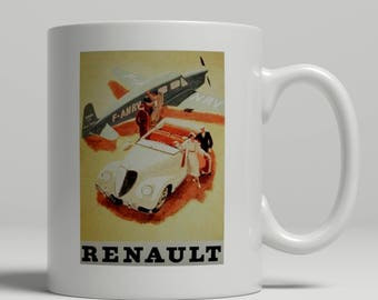 Renault vintage airoplane and car advertising poster printed on a new ceramic mug. Loving all things art deco and retro. UK Mug Shop. Ren 1