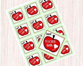 Printable Teacher School Year Sticker Labels, Best Ever Labels, Teacher Labels, Instant Download
