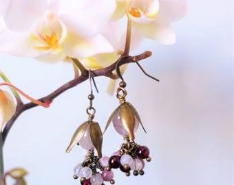 Floral rose quartz, Garnet, tourmaline and Moonstone earrings