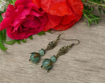 Bell earrings bronze and aventurine beads