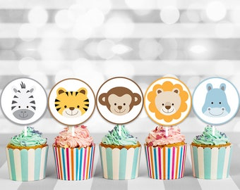 Jungle cake topper, safari cake topper, animal cake topper, safari cupcake, cupcake toppers, cupcake decorations, printable toppers