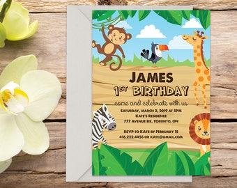Safari Birthday invitation with Setup, jungle invitation, animal invitation, zoo invitations, printable invitation, invitation template