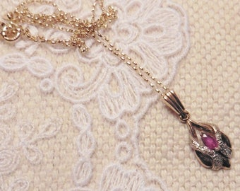 Pretty Ruby And Diamond Pendant And Chain - 9ct.  rubies.  diamonds.    ruby pendant.  vintage ruby pendant.