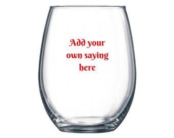 Customized/Personalized Stemless Wine Glass