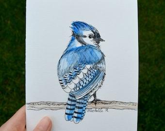 Hand Drawn Card (Handmade), Blue Jay Card, Bird Card, Blue Jay Stationery, Bird Stationery