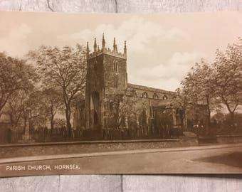 vintage postcard, vintage cards, vintage hornsea postcard, parish  church Hornsea postcard, seaside postcard, the parish church hornsea