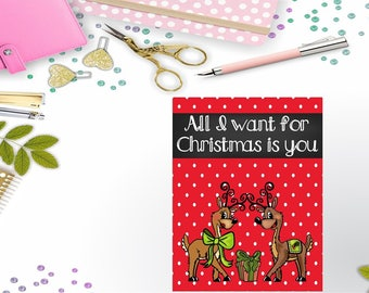 All I Want for Christmas is You Reindeer Traveler's Notebook/Planner Printable Dashboard/Cover Instant Digital Download