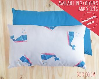 Whale Cushion, Nautical Cushion, Children's Cushion, Baby Cushion, Animal Cushion, Rectangle Cushion, Nursery Cushion, Cushion Cover, Blue