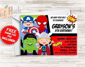 Avengers Birthday Invite Superhero Invitation 5x7 Digital Personalized Avengers Birthday Invitation 16.0