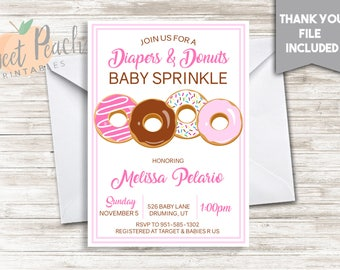 Diapers and Donuts Girl Baby Shower Invite Invitation 5x7 Digital Personalized Baby Sprinkle Chocolate Glazed Sprinkles Cute Pink, #61.0