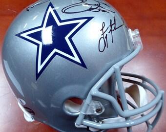 Troy Aikman, Emmitt Smith & Michael Irvin Autographed Signed Dallas Cowboys Full Size Helmet BECKETT