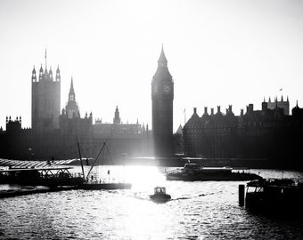 The River London Print/ UK/ Great Britain/ Big Ben/ Boat/ Architecture/ Travel Photography/ Eleventh Planet/Framed Print/Home Decor/Wall Art