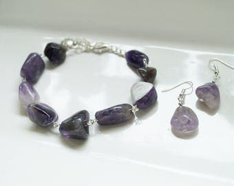 Purple Amethyst Link Bracelet/Earring Set