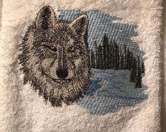 Embroidered Wolf Hand Towels. Set of 2.