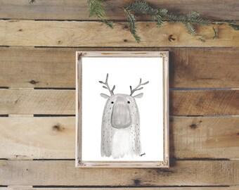 8x11 print, illustration, home decor, moose painting, nursery decor, watercolor moose, deer, poster