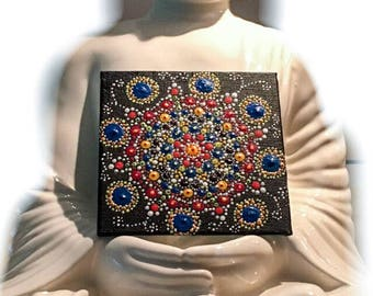 Sea of flowers - flowers mandala, dot painting, art, gift, decoration, hand-painted