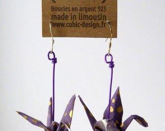 Purple dotted crane origami earrings