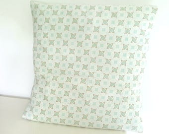 Cushion cover 40 x 40 cm, cement tile, water/mint green pastel color patterns