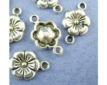Connector, flower, flowers, charm, pendant, silver