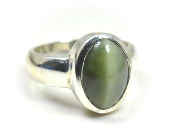 Cat's Eye Simple Ring,Silver Ring,Eye Stone Ring,Green Cat's Eye Ring,925 Silver Cat's Eye Ring,Gemstone Simple Ring, Rings,Cat's Ring