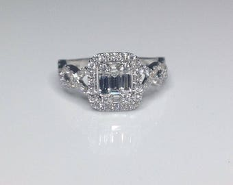 Estate 18K White Gold 1.20 CTW Diamond Engagement Braided Ring Size 6.5