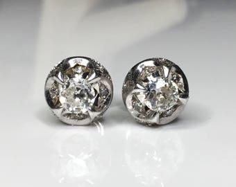 Antique Art Deco Platinum Old European Cut 1.00 CTW Diamond Stud Earrings 3.5 Grams