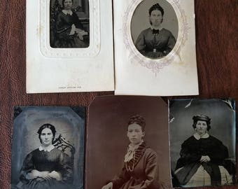 Civil Ladies: Lot of 5 Antique Tintype Photographs of Civil War Era Women